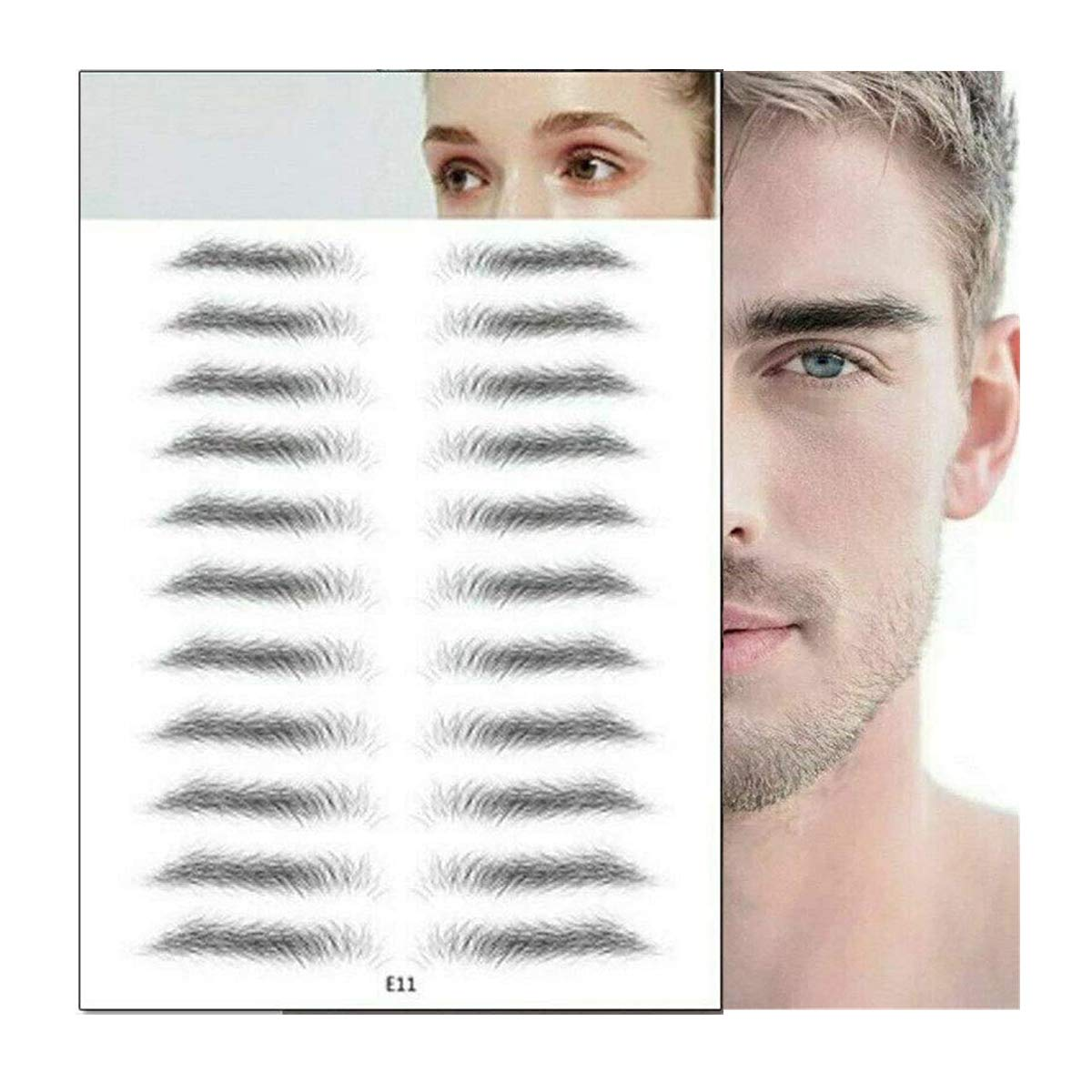 Aaiffey Hair-like Authentic Eyebrows 4D Instant Eyebrow Stickers Imitation Eyebrow Tattoo Waterproof Long Lasting Natural Eyebrow Makeup Tool 11 Pcs
