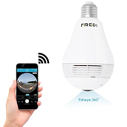 Fredi 960p HD IP cámara WIFI Vigilancia Panorama Cámara 360 ° Fisheye WiFi Cámara de seguridad ...