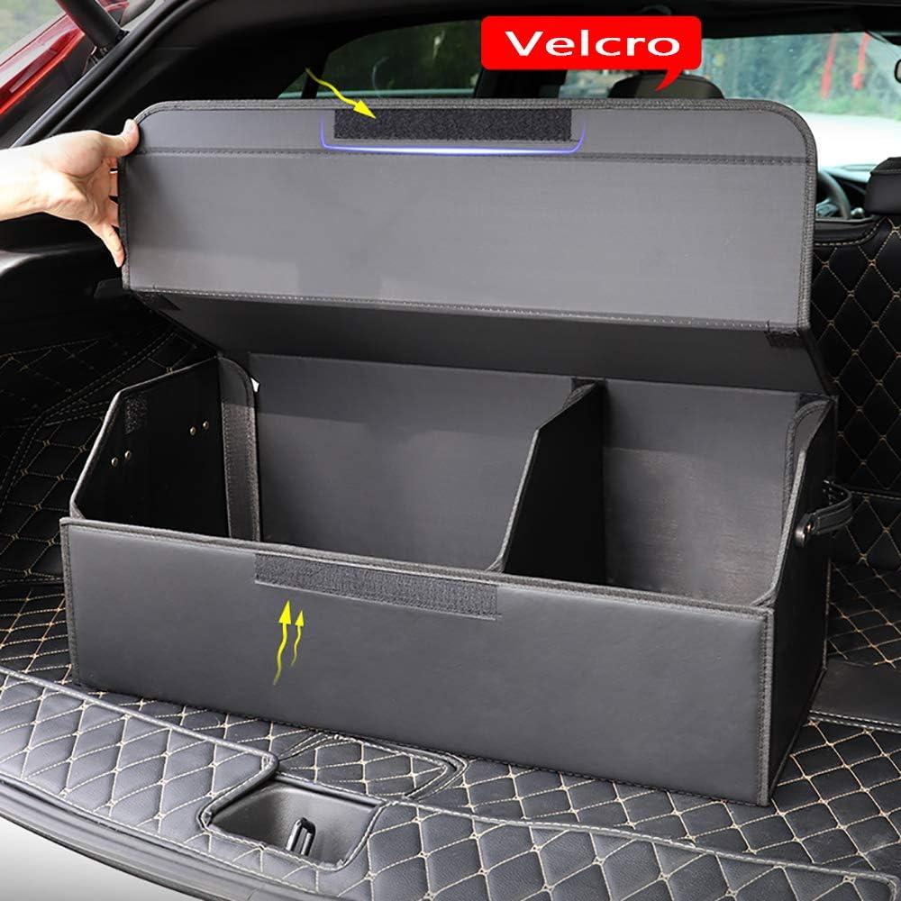 con 2 Compartimentos Grandes y Bolsillos Laterales convenientes,Adecuado para B-MW X5 X6 GT,No2,48cm LAUTO Organizador para Maletero De Coche Caja de Almacenamiento Plegable con Separadores