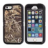 MOONCASE iPhone SE Case, [Realtree Camo Series] 3 Layers Heavy Duty Defender Hybrid Soft TPU +PC Bumper Triple Shockproof Drop Resistance Protective Case Cover for Apple iPhone 5 / 5S / iPhone SE -Black Grass