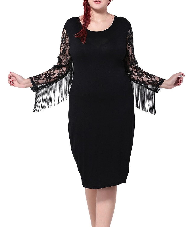 Bigood Plus Size Lace Lange Armel Damen Knielanges Kleid Party Kleid ...