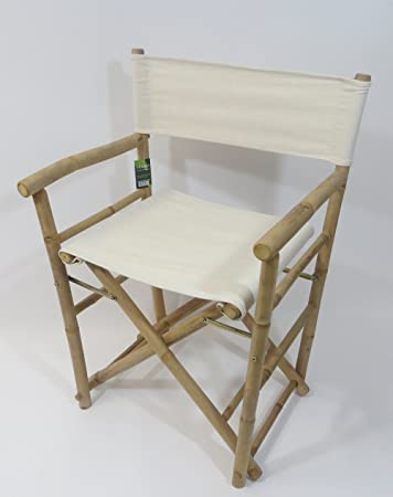 Master Garden Products Regular Bamboo Director Chair, White Canvas, Set Of 2