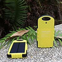 Solar Charger 10000mAh TALABOX Solar Power Bank Portable Charger with Outdoor Camping Lamp for iPhone8.iPhone8 Plus.iPhoneX.Sumsung S8.(Yellow Frame)