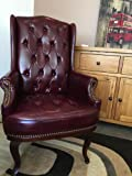 New Queen Anne Fireside High Back wing back leather chair Chesterfield type armchair (Black) (ox blood)