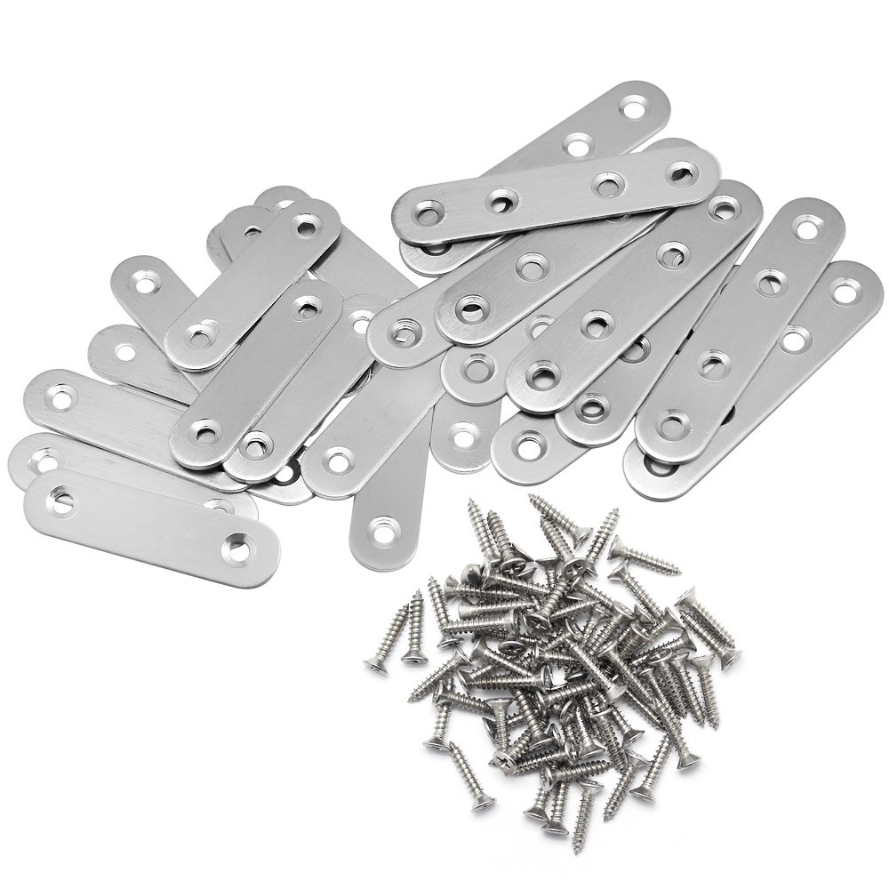 Hysagtek 2 Sizes Flat Brace Plates Metal Joining Plate Connector Repair Fixing Plates Bracket with Screws, Pack of 25 Sets, Stainless Steel, Silver Color