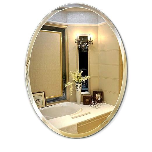 JKAD Espejo de vanidad de Pared Espejo de baño sin Marco Oval ...