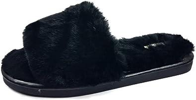 Black Fluffy Sliders Faux Fur Slip On Slippers Cosy Warm Flat Mules Sling Backs