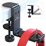 [Newest Upgrade] Foldable Headphone Stand Hanger with Cable Clip Organizer, Aluminum Headset Stand Holder Under Desk…