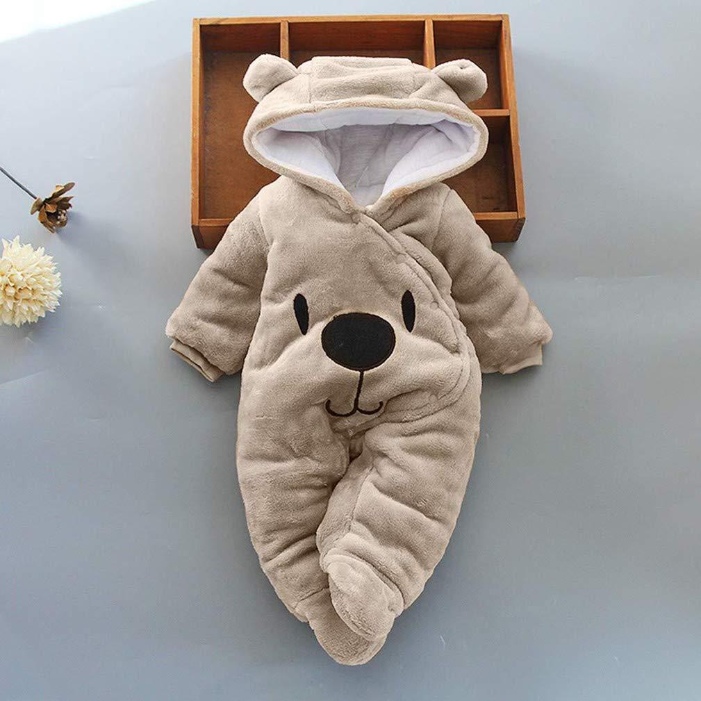 EISHOW Newborn Baby Girls Boys Warm Thicken Hooded Cartoon Bear Jumpsuit Romper Velvet Pajamas Set 0-12 Months