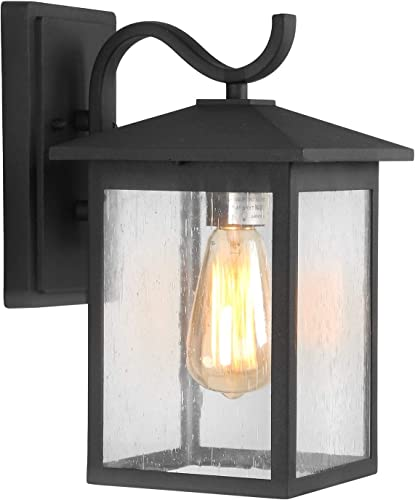 LALUZ Outdoor Wall Sconce Farmhouse Exterior Light Fixtures with Bubble Glass for Entryway, Yards, Front Porch A03274