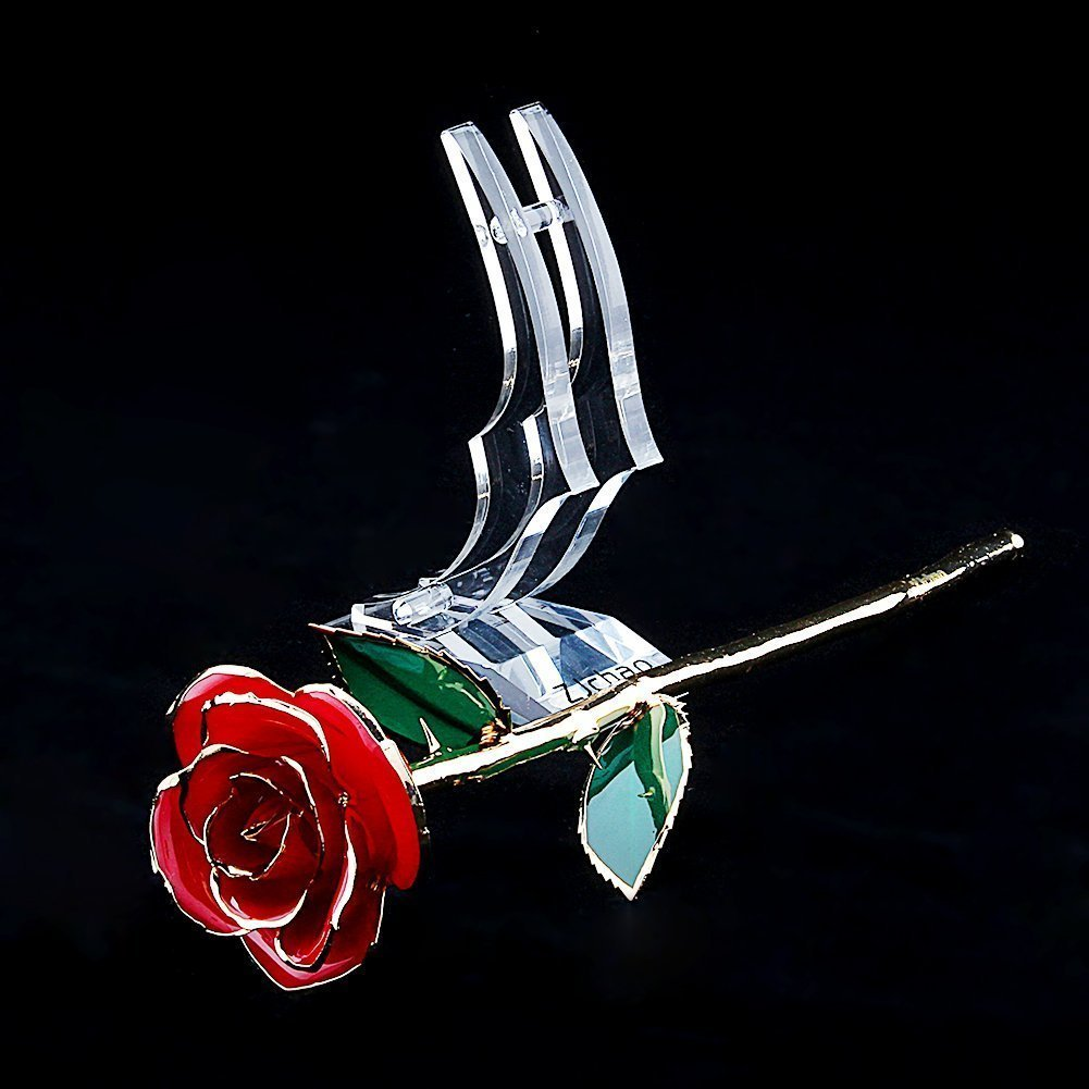 Mothers Day ZJchao Long Stem Dipped 24k Gold Rose Foil Trim Anniversary Best Gift for Valentines Day Birthday Gift