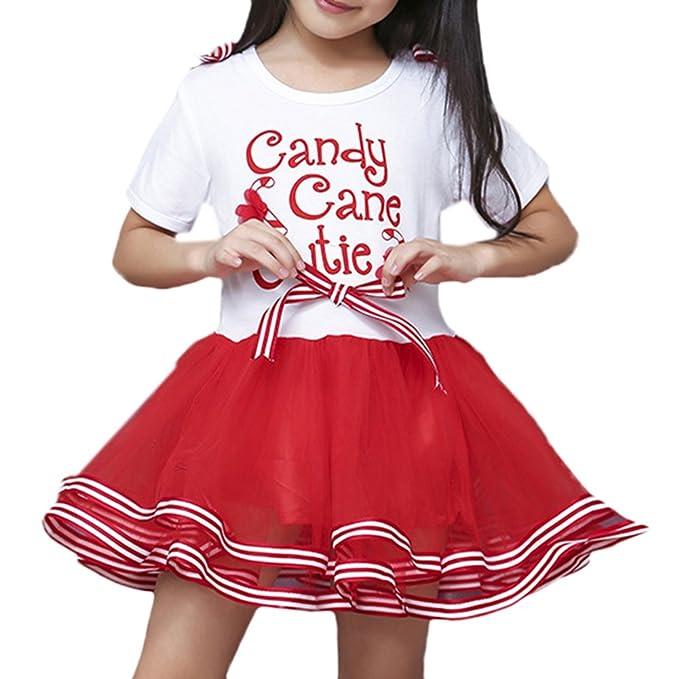 Scothen Vestido de Navidad para niños pequeños Bebé niña de manga larga con lunares impresos Tutu