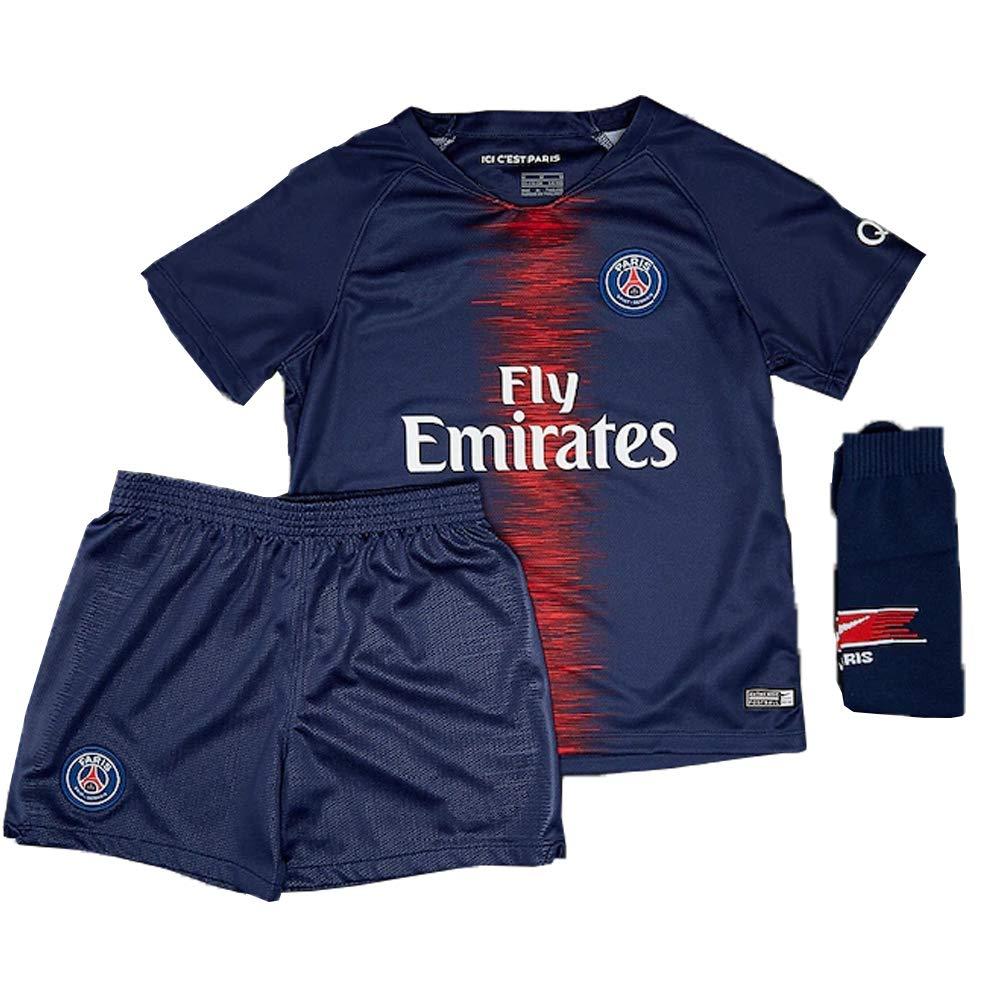 df10f8e2 Mbappe Jersey Youth/Kids 7# Paris Saint-Germain Home PSG Soccer Jersey & Shorts  Set 18-19 Season [1541650571-298300] - $17.32