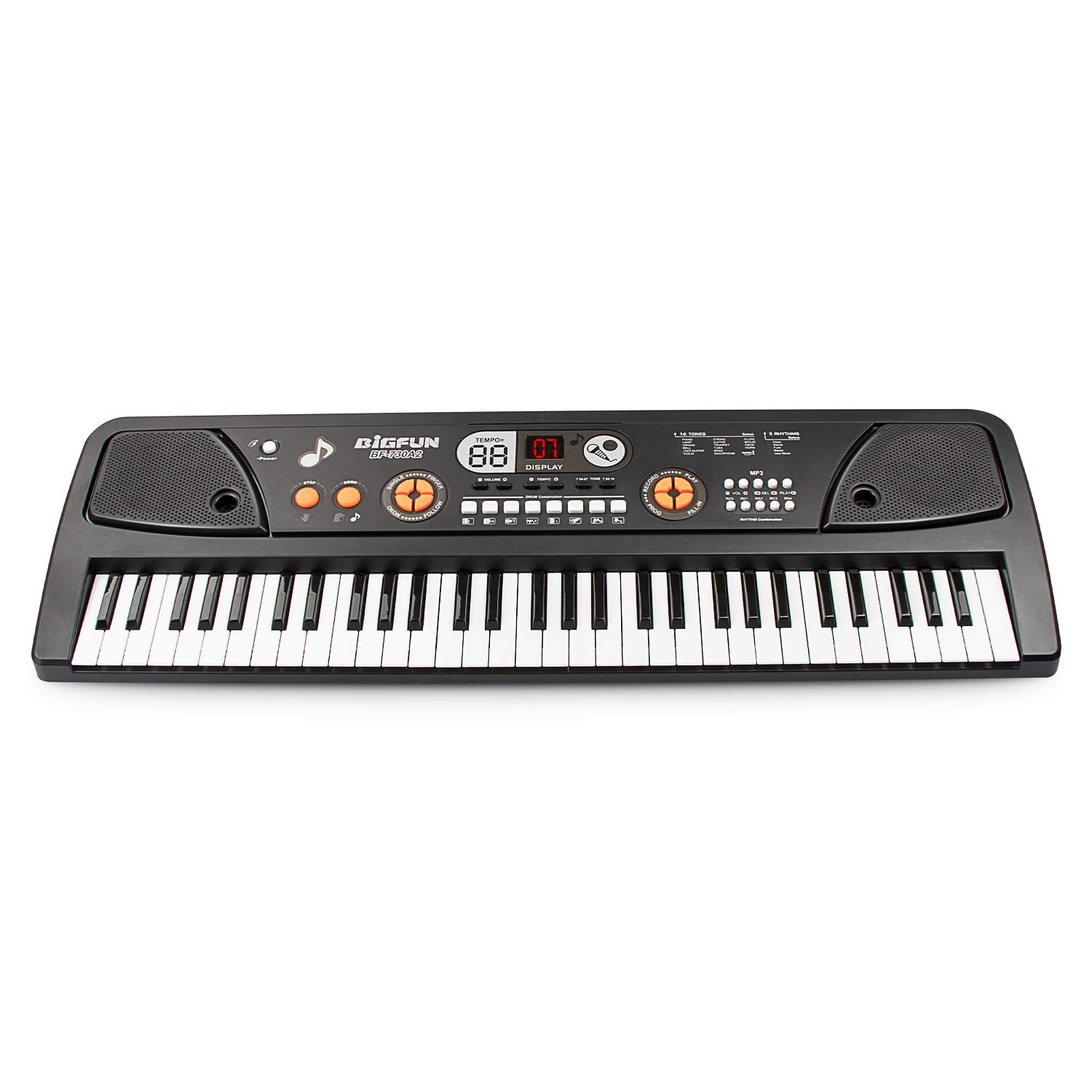 SAOCOOL Portable Keyboards, 61 Keys Multifunction Piano Keyboard Electronic Piano Keyboard Music Piano Toys with Microphone (Black)