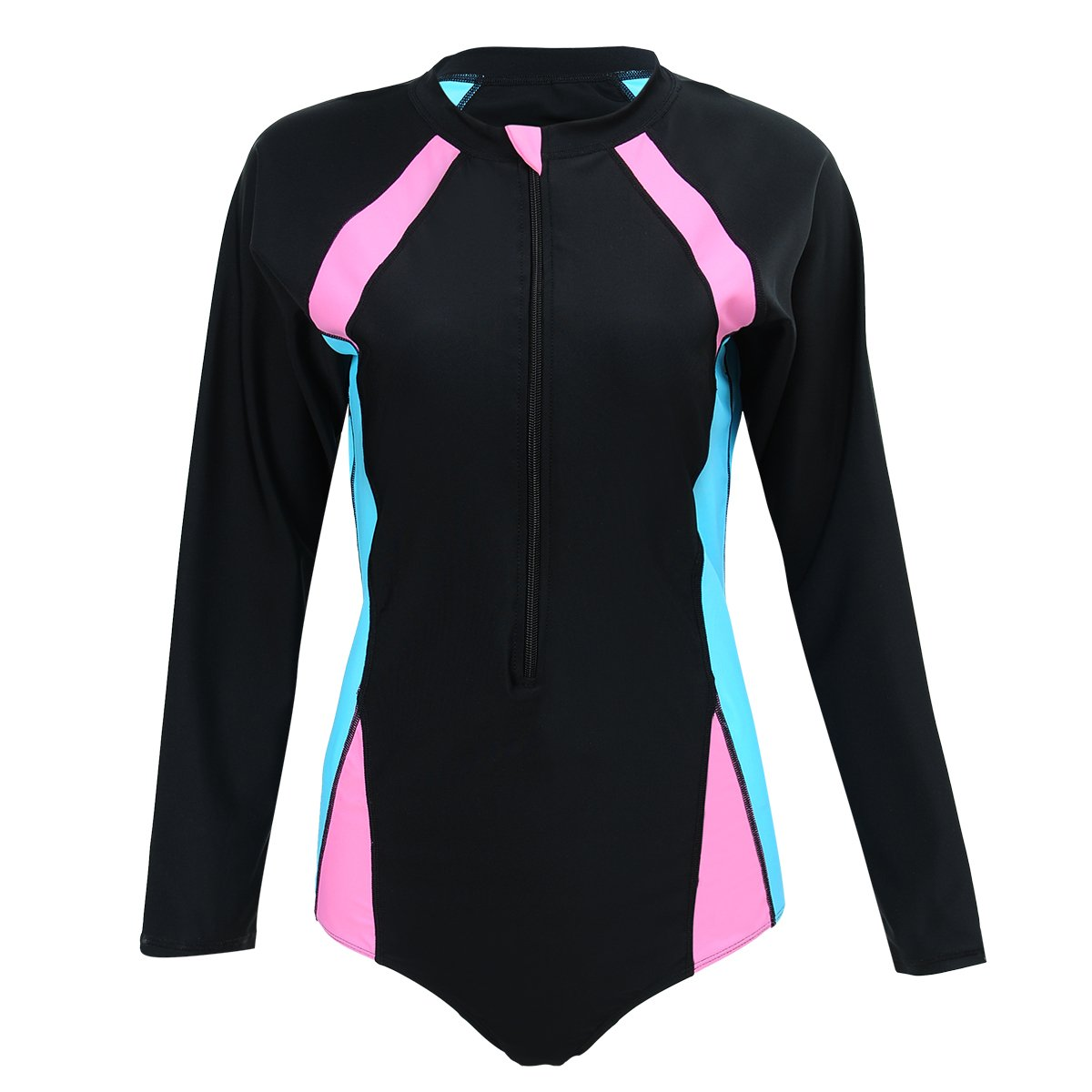 Just for Plus Women One Piece Swimsuit Long Sleeve Zip Plus Size Color Block