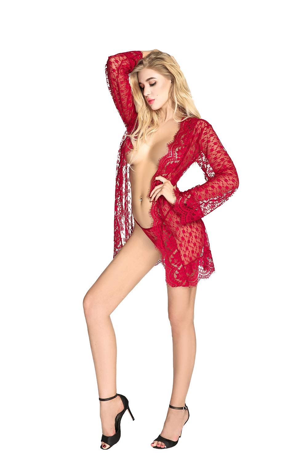 QUEEN MOON Babydolls Sexy Lingerie for Women for Sex Long Sleeve Lace Lingerie Set Exotic Lingerie Robe by QUEEN MOON (Image #7)