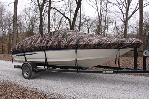 NEW VORTEX 5 YEAR CANVAS HEAVY DUTY CAMO VHULL FISH SKI RUNABOUT COVER FOR 16 to 17 to 17.5' BOAT, IDEAL FOR 96