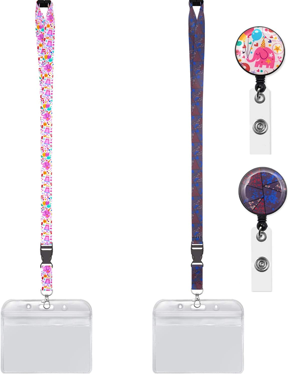 YOUOWO 2 Pack Lanyard with id Badges Holder and Badge Reel Retractable Horizontal ID Holder Cruise Lanyards for Ship Card Breakaway Safety Pink Elephant Lanyards Wide 0.79inch