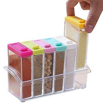 MALUX 6 Piezas Caja de condimento de acrílico Tarro de sal de plástico Especias Almacenaje de