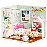 Ogrmar Wooden Dollhouse Miniatures DIY House Kit With Cover and Led Light-Happiness World