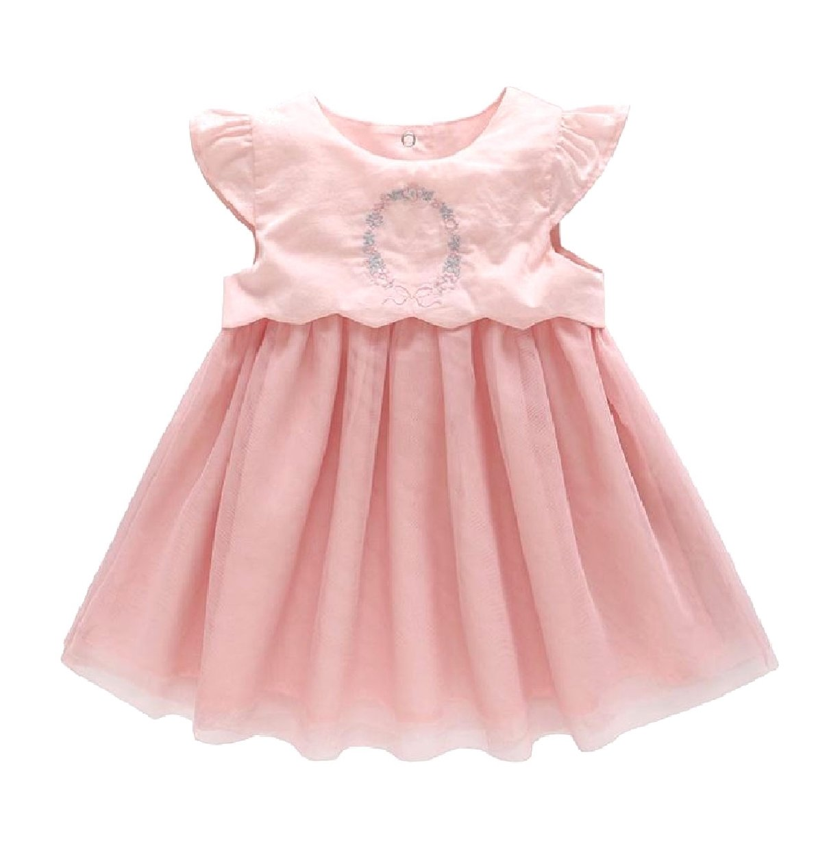 Howme Kid Girl Stitch Fine Cotton Embroidery Party Wedding Dresses Pink 9-12M