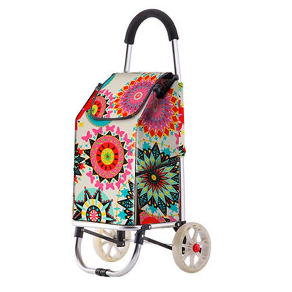 ZGL トラック ショッピングカートアルミ合金トロリーボールドプルロッドカーポータブル荷物カート荷物トラベルバッグ (色 : 花の色) B07D6QL8XF 花の色 花の色