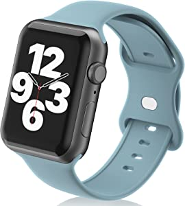 N-Hocezyg Smartwatch Bands Compatible with Apple Watch Band 40mm 38mm for Women Men Girls,Soft Silicone Sport Replacement Strap for iWatch Series 6 5 4 3 2 1 SE Wristbands