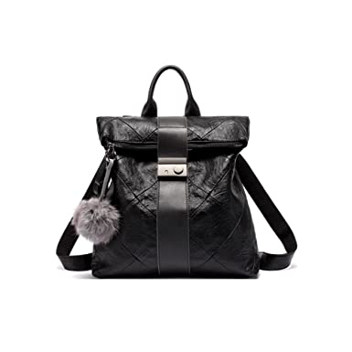 81d5f0e4ff6c JeHouze Fashion Women Handbag Genuine Leather Backpack Casual Shoulder Bag  Anti-theft purse (Black