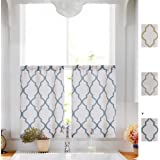 Linen Tier Curtains for Kitchen Flax Geometric Curtain Textured Drapes Lattice Moroccan Tile Print Drapery Light Filtering fo