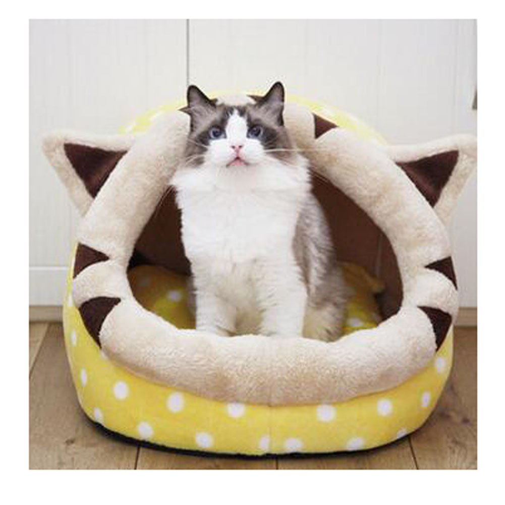 Saymequeen Cute Animal Cake Pet Bed for Small Medium Cat Dog Warm Nest House (Cake Yellow Style) by Pet-Saymequeen
