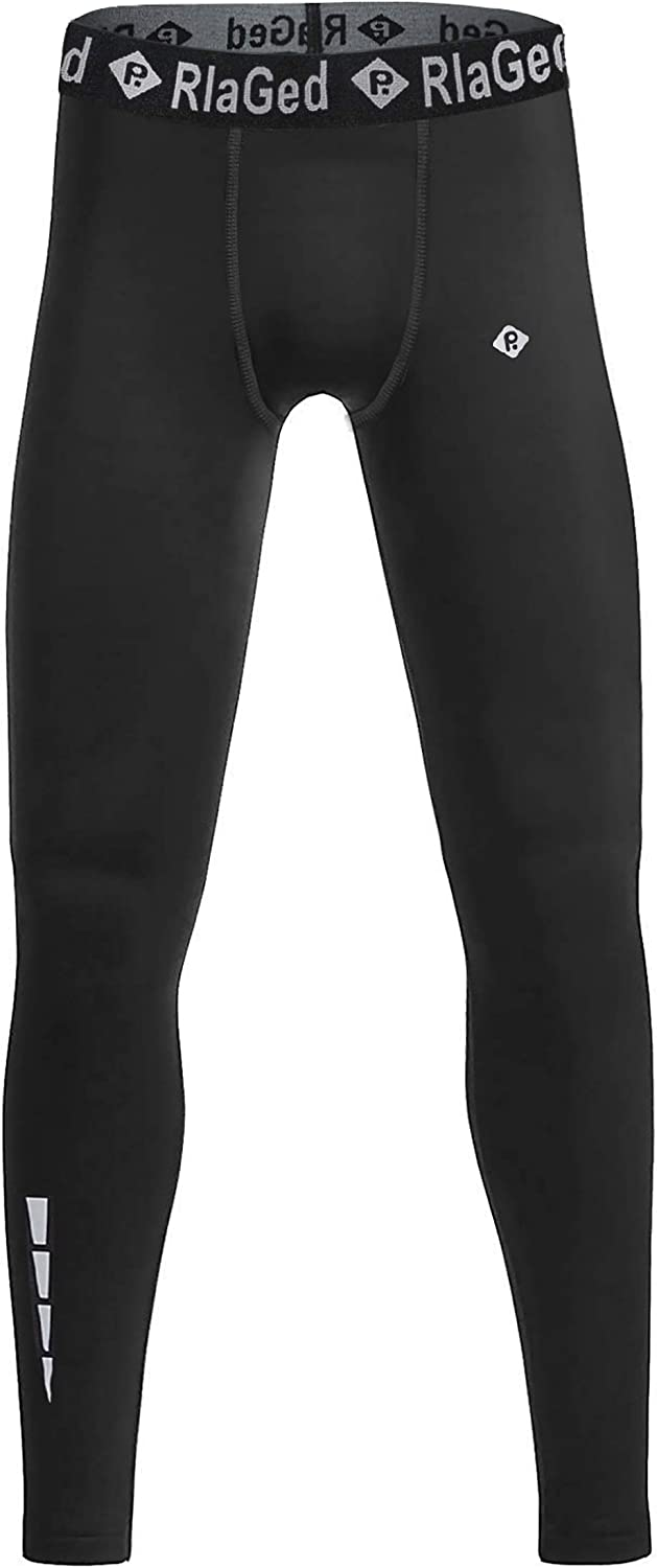 RlaGed Youth Boys Compression Base Layer Pants Running Basketball Sports Tights Leggings