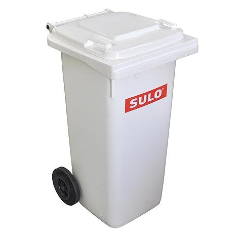 Cubo de basura 2 ruedas, contenedor a basura SULO 120 L, Blanco (22313