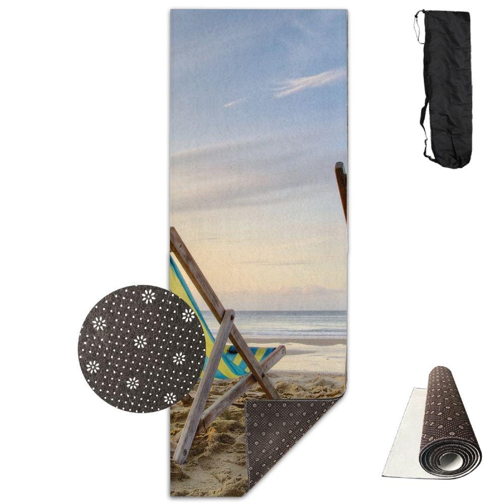 2つブラウン木製折りたたみ椅子Besideビーチヨガマット – 高度なヨガマット – ノンスリップ裏地 – 簡単に掃除 – ラテックスフリー – 軽量、耐久性 – Long 180幅61 cm   B07DQ5PJ2S