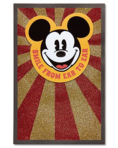American Greetings Smile Mickey Mouse Birthday Greeting Card with Glitter and Flocking (Best Dad In The World Card)