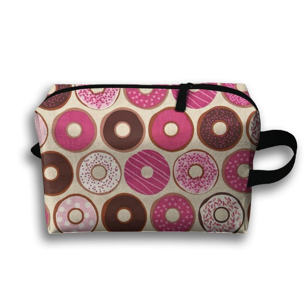 DTW1GjuY Lightweight And Waterproof Multifunction Storage Luggage Bag Confections Donuts Strawberry Pink