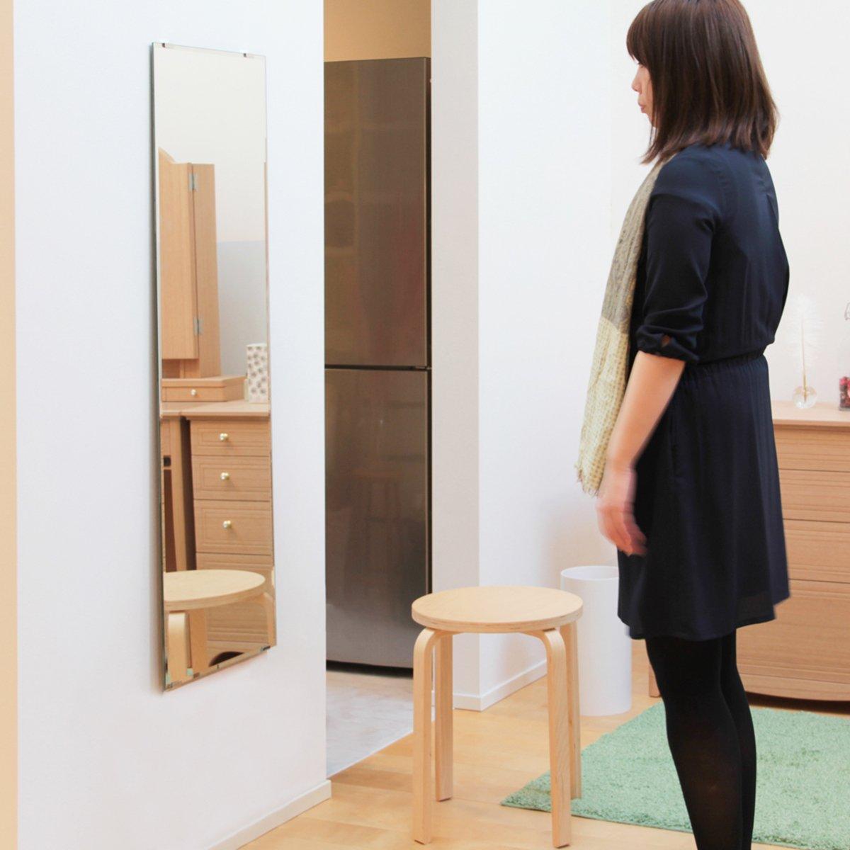 DIY 姿見 鏡 全身 壁掛け 四角 セット [ 大きい ミラー 取り付け用品セット ] B07BMS5Z9L