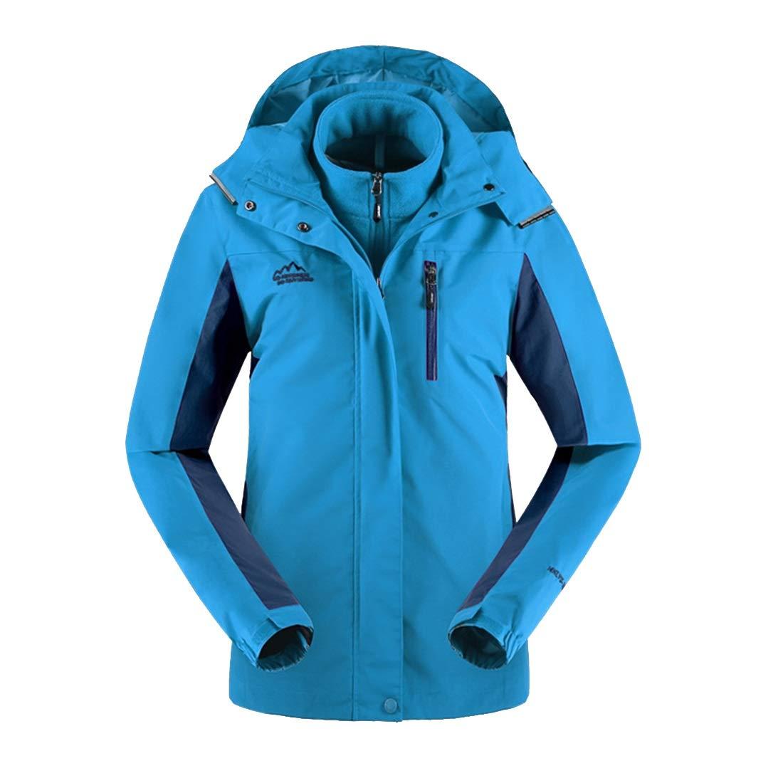 bluee AUSWIEI Winter Autumn Jacket Women's Threeinone TwoPiece Suit Breathable Plus Velvet Padded Jacket Jacket (color   bluee, Size   XXL)