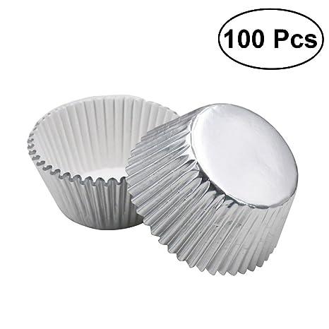 ULTNICE Moldes para Cupcakes Muffins Capsulas Magdalenas de Aluminio 100 Unids (Plata)