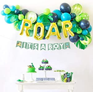 Sweet Baby Co. Dinosaur Baby Shower Decorations for Boy with Blue Green Balloon Garland Arch Kit, Its a Boy Banner, Leaves, ROAR Letters, Jungle Theme Party Supplies Lion King Safari Birthday Backdrop