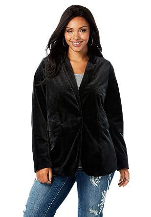 5555ba2e7eabad Roamans Women s Plus Size Velvet Blazer at Amazon Women s Clothing store