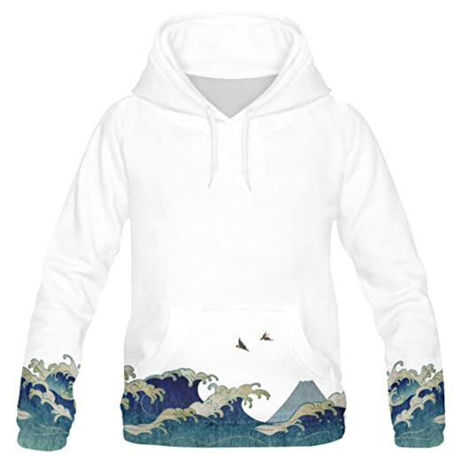 ecf2894d2 InterestPrint Custom Chinese Traditional Painting Great Wave Swallow  Teenager s Pullover Hoodies Sweatshirt XXS