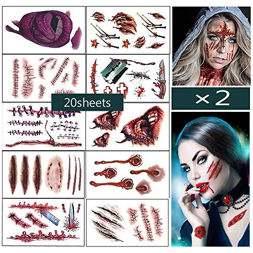 halloween costumes  zombie tattoos,Makeup For Halloween Party Prop decorations, Body Scar Stickers for Cos Play by Dream Loom (20 sheet) -