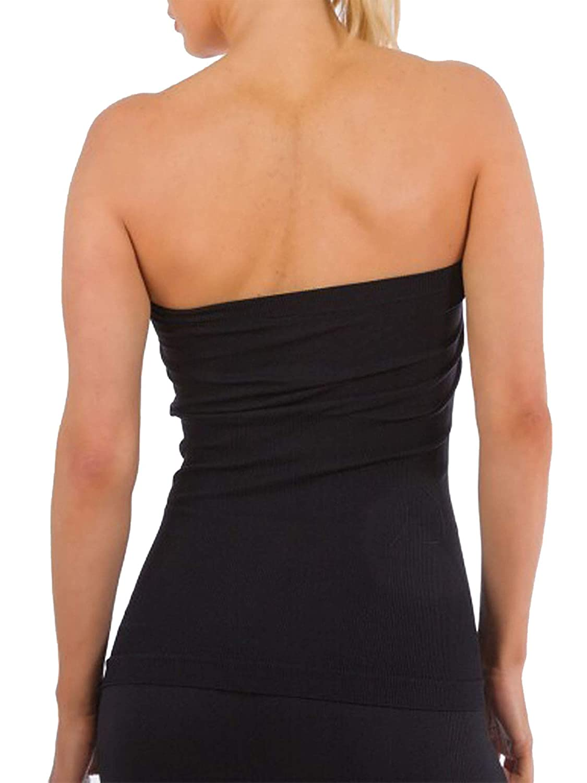 1ade6cdafc Ekimo T-USA Womens Basic Strapless Bandeau Tube Top Slimming Shirt (Black)  at Amazon Women s Clothing store