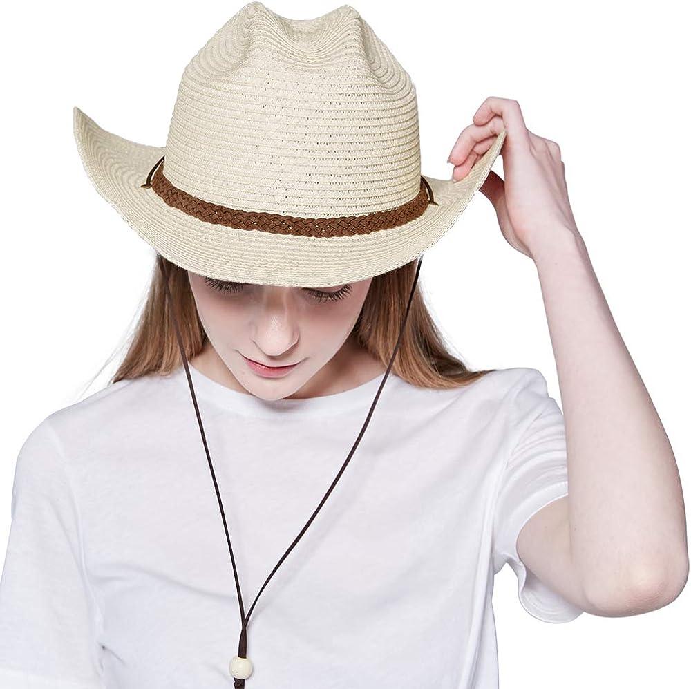 Straw Cowboy Hat,Men Women Western Wide Brim Fedora Summer Beach Panama Sun Hats Costume Themed Party Outdoor