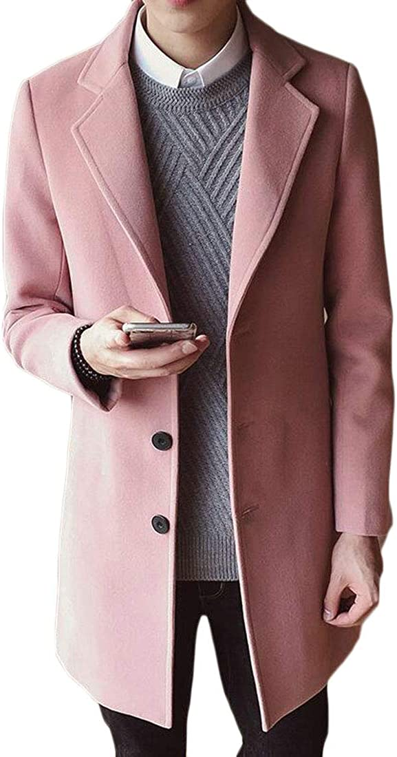 CMCYY Mens Wool Blend Thicken Outerwear Casual Slim Fit Pea Coats