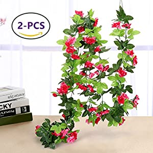 Yobansa 2 PCS 7.5 Ft Artificial Vine Flowers Silk Rose Hanging Artificial Flowers Garland Arrangements Home Party Wedding Decoration 108