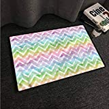 Kitchen Room Floor Mat Rug Colorful Chevron,Brush Stroke Effect Shapes,W24 xL35 Outdoor Camping Rugs