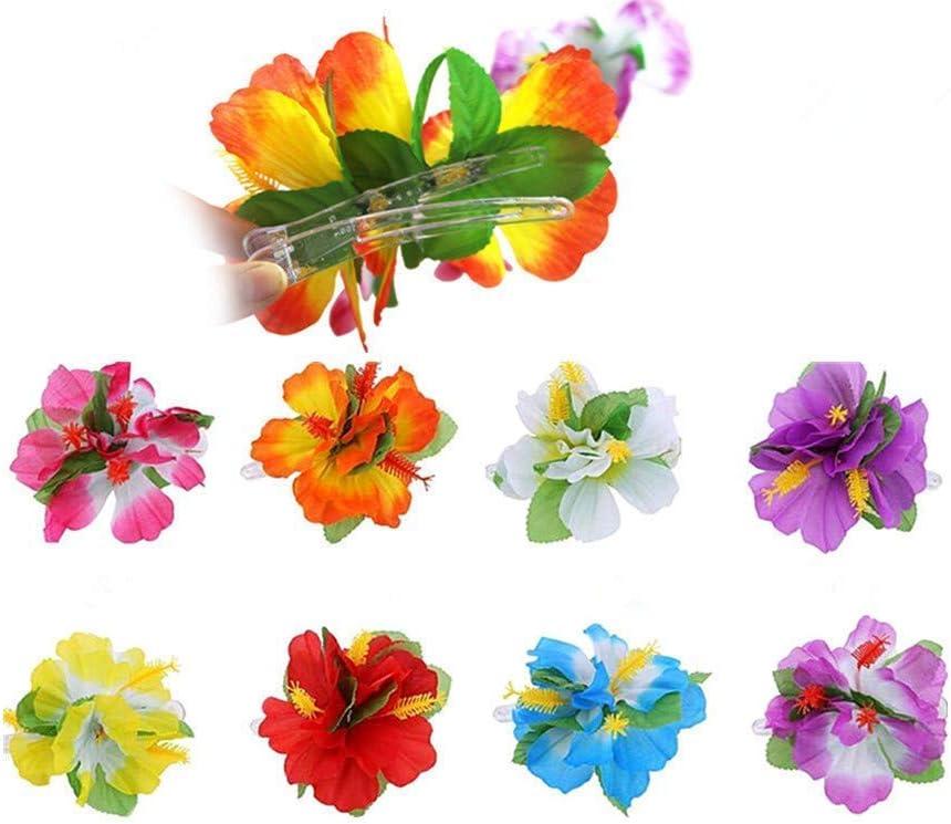 Hibiscus 2 Flower Hair Clip Hawaiian Tropical Lau Fancy Dress