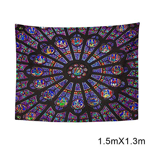 MAYouth Notre Dame Cathedral Paris Home Tapestry Rose Window Wall Hanging for Living Room