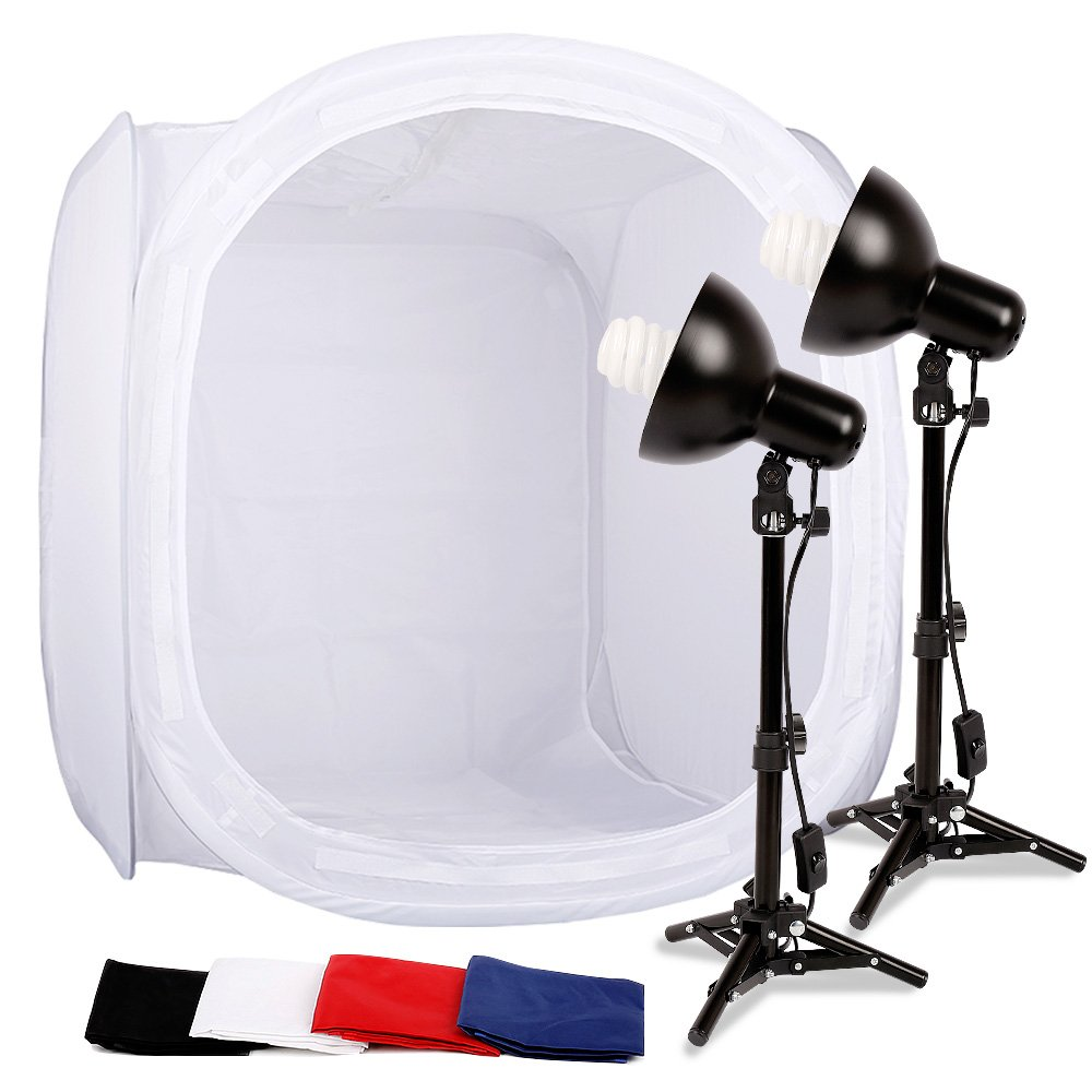 Konseen 2x45W Portable Table Top Photo Studio 32''x32''x32'' Shooting Tent Lighting Kit with 27'' Light Tripod,4pcs Backdrops White Black Red Blue